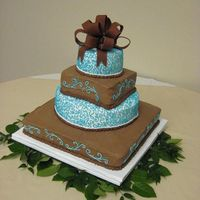 Teal And Chocolate Wedding  Chocolate cake with alternating fillings (cream cheese in the chocolate bc squares and choc bavarian in the white bc rounds). Brown fondant...