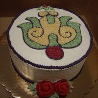 Volunteer Appreciation Made for a volunteer party at my organization. It was a fiesta theme, so I went with a xochitl from the Aztec calendar. Buttercream with...