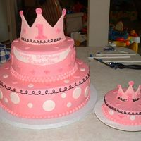 Lil Princess Theme 1St Birthday This was a cake for a 1st birthday with the Lil Princess theme. Buttercream with fondant accents and fondant/gumpast crowns