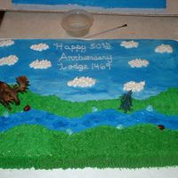 Moose Lodge Cake This is a full sheet cake for my in-laws Moose Lodge summer party.