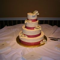 Wedding Cake All BC - with calla lillies and ribbon....first time using ribbon on cake! Thanks for looking