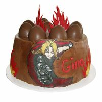 Ed The Full Metal Alchemist And Akuma The Street Fighter Cake This is what happens when you work with geeks. A friend of mine wanted a cake with chocolate buttercream and chocolate covered strawberry...