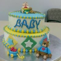 Baby Boy Shower I made this for a co-worker. It was chocolate and white cake with cookie and cream filling and buttercream frosting. Fondant baby and bears...