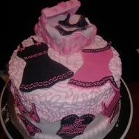 "Lingerie Cake  Srawberry marble cake bc with fondant/royal accents. fondant covered craft box filled with mashmellos covered in thin fondant ""tissue&..."