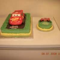 Lightning Mcqueen Cake Lightning Mcqueen cake was made from the VW bug pan (can't remeber exact name?) from Wilton and carved to resemble a race car.. Wheels...