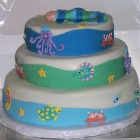 Baby Shower Ocean Life Cake I made this for my best friends baby shower. The baby's room is being decorated in an ocean theme. The cakes are chocolate with...