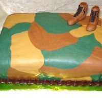 Camoflauge I don't even know why I am posting this cake on here. I REALLY don't like it. My customer wanted a camo covered cake with army...