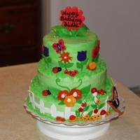 Birthday Cake Garden theme pineapple cake for my daughter's first birthday.