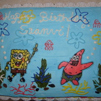 Spongebob Cake Spongebob and Patrick cake. Marble cake with whipped cream frosting and characters are FBT.