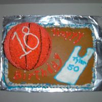 18Th Birthday Basketball Cake I made this for my boss' son's 18th birthday. He LOVES basketball.Cake yellow w/ butterrum flavor butter cream and the ball is...