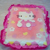 Hello Kitty These cake was made in fondant, i used color mist for the top quiete easy