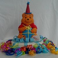 Pooh's Birthday All buttercream with fondant bow.