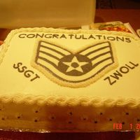 Usaf Ssgt Promotion Cake This was a red velet cake with cream cheese icing for my husband's troop who was being promoted to SSgt. The stripes were made by...