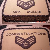 Air Force Sra Celebration Cake My husband requested this cake for his troop who was putting on SrA. It was a red velvet cake with a cream cheese icing. The rank was made...