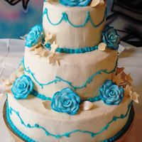 Teal And Cream Wedding Cake