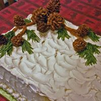 Pinecone Cake 07 This is a chocolate cake, 2 layers with fudgy filling and iced with buttercream. The pinecones are chocolate buttercream. Thanks for...