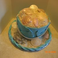 Pail Of Shells 8 inch cakes stacked and covered with fondant. Shells are white chocolate with luster dust.