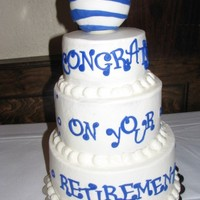At&t Retirement AT&T Retirement cake for friends step-dad. Foam ball covered in fondant, WASC with BC.