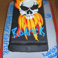 Rodrick's Skate Park Customer requested a skateboard cake for her son's sixth birthday. Skull and flames were my way of adlibing on the cake. She loved it...