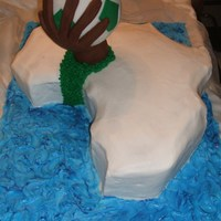 Nigeria Cake mad for a surprise party for customer's husband who was from Nigeria. Hand and ball represents the soccer team's color.