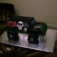 Gravedigger this is sheet cake with a loaf pan on top carved in the truck shape iced in bc with fondant accents. got the idea from the other...