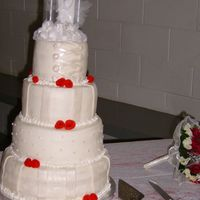 "2Nd Wedding Cake the sizes are 12"",10"",8"",6"" the flavors are vanilla, chocolate, vanilla, and marble all iced with bc and all with..."
