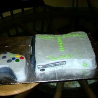 Xbox 360 sheet cake iced in bc with fondant accents.