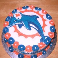 Miami Dolphins Birthday Cake Transfer on a strawberries in cream cake...thanks for some of the ideas on this website.
