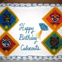 Anniversary Cubscout Cake For Blue And Gold Banquet Sheet cake with BCT's and gumpaste decorations. Theme was Chinese New Year!