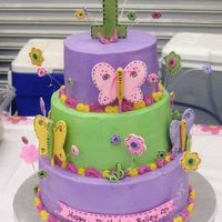 Flowers And Butterflies With Stitching This is a modfied version of several of the other cakes posted on here. My client liked different aspects of 3 different cakes....so I put...