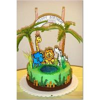 Jungle Cake I made this cake for my son's 2nd b'day...theme being jungle animal,the animals are made of royal icing, the tree is made of...