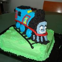 Thomas Tank Cake This was my first standing cake, my hand was very tired!