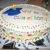 Preschoolgraduation1.jpg This was for a kindergarten graduation. Grad hat is made from fondant. I found a small snack tray shaped like a graduation cap at the party...