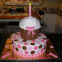 1St Birthday Cake For a little girl's first birthday party with a cupcake theme. Carved the cupcake from a 6 and 7 inch bottom and baked the top of the...