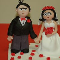 Cartoon Wedding Couple Topper Wedding couple cake topper. The wedding invitation had these cartoon characters that I replicated. The figures are actually much, much...