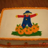 Scarecrow Cake I made this cake for a fall meeting at work. The scarecrow was made using the star tip. The pumpkins were made using the star tip also.