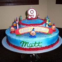 "Clowns For Matt This was the first cake that I made using only my imagination! Matt loved it! The ""Happy Birthday"" on the fornt played the..."