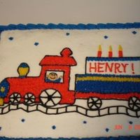 Train Birthday Cake I made this for a friend's little boy. He loved the train on the cake.