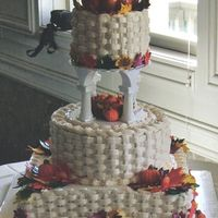 Fall Wedding Cake Icing is a Whipped cream icing. Cakes filled with fresh strawberries and strawberry filling. Pumkins and leaves made from gumpaste and...