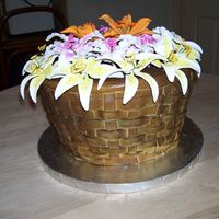 Basket Of Flowers I did this cake for another secretary at work. The cake was huge !! They were eating it for a week, lol. Started out with 6 14 inch layers...