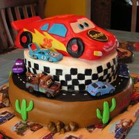 Cars Movie Cake It was right around the Sally car on the white cake where I completely leaned into the cake with my forearm. The cake was finished and I...
