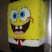 Spongebob Spongebob cake using pattern transfer and star tip