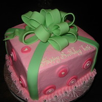 Pinking Of You Pink and green present cake
