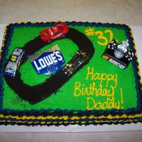 Lowe's Nascar 48 Car Birthday Cake This is a random cake that my kids and I made for my hubby. He loved it! It is just the standard buttercream icing...nothing fancy.