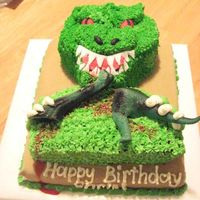 T-Rex Chris asked me several months ago to make a T-Rex cake for him for his tenth birthday. He wanted it to be eating a brontasaurus, and he...
