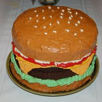 Cheeseburger First burger Ive made, second cake on this website.. all Buttercream, 2 vanilla and 1 choc cakes... hope u like it!