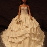 "Wedding Dress Barbie grew up and now she is getting married!!! I baked the Wilton ""wonder pan"" as well as a 12"" round (2"" high) ***..."