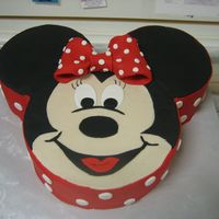 Minnie Mouse Here is the minnie cake done in red. I like the red one so much more than the pink. Same pans, 6 in for ears and 8 in for face.