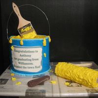 Paint Can And Roller This cake was made for a young man graduating from a tech. school. The paint can was made with 3 8inch round cakes staked. The roller was...
