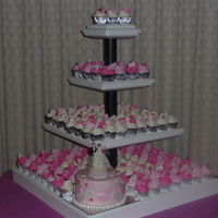 "Heart Cupcake Wedding Tower  Not my favorite :( ...Bride had cupcake stand made and didn't let me know dimensions as well as ordering a 9"" cake instead of a 6..."